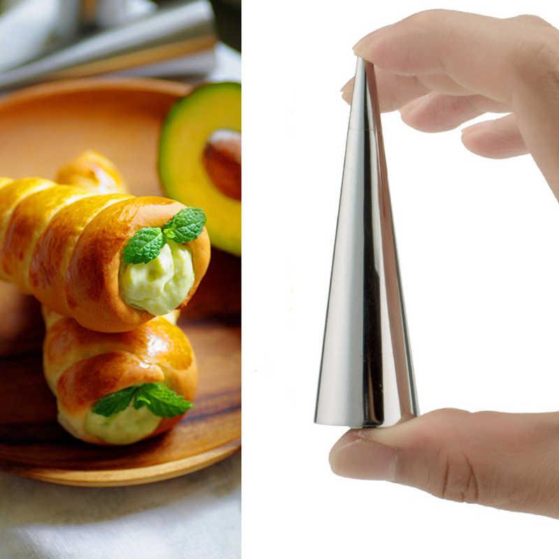 Creme DIY Molde Croissant Ângulo Espiral de Aço Inoxidável Resistente de Alta Temperatura Tubo de Molde Ferramentas de Cozimento Da Cozinha