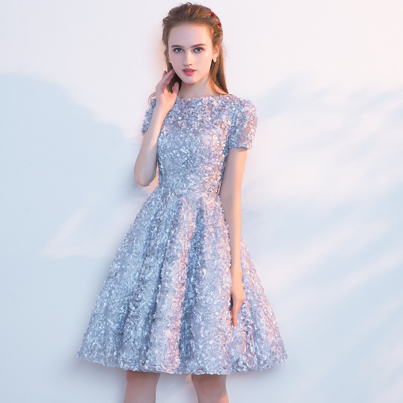 Short Graduation   Dress     Bridesmaid     Dress   Pompon Skirt 2019 Formal Wedding Party Prom Reflective   Dresses   vestido de noiva