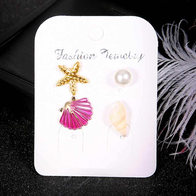 Vintage Shell Simulated Pearl Conch Starfish Earrings Set 2018 New Stud Earrings For Women Jewelry Wholesale