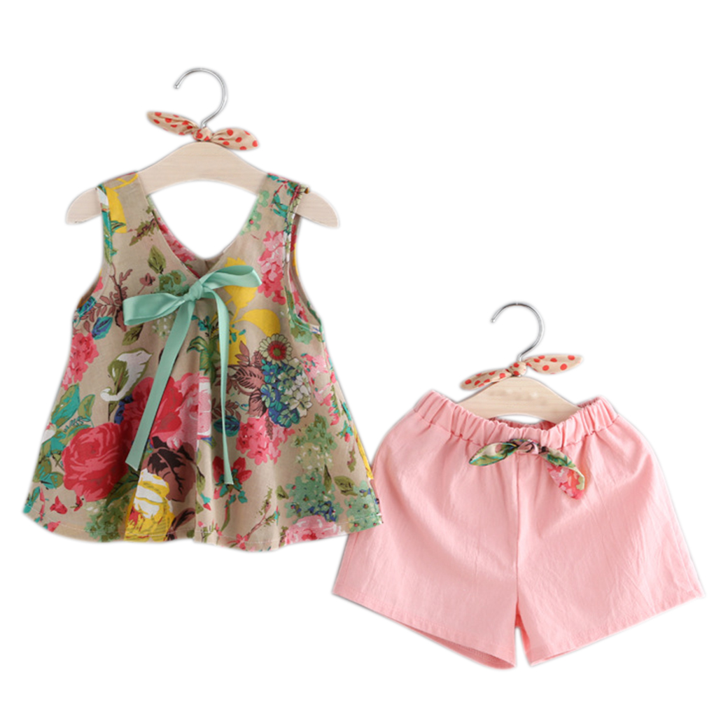 Girls Kid Children Floral Printed Summmer Cute Bowknot Sleeveless Dress Tops Shorts Pants Trousers Sets Outfits Baby Girl Clothe