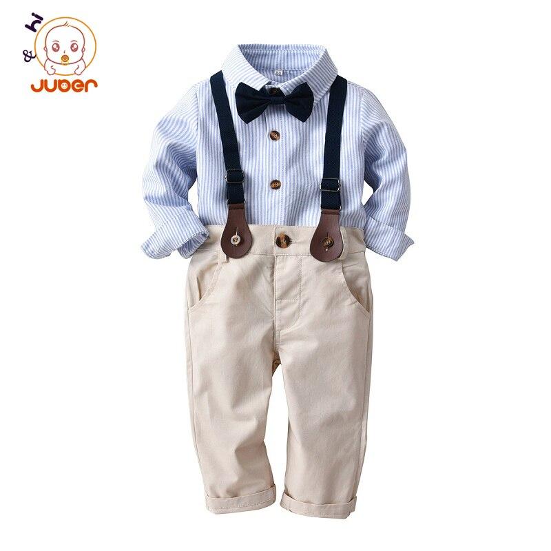 Модный комплект одежды для мальчиков, хлопковый Детский костюм с длинными рукавами для подростков, детская одежда, ошейник с бантиком, поло...