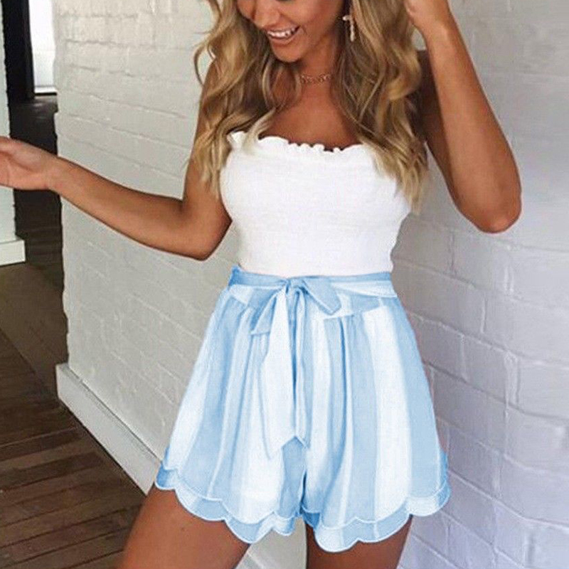 2018 Fahsion Women High Waist Striped Shorts Casual Loose Boho Skirts Shorts Wide Leg Chiffon Bottoms Sexy Pantaloncini Donna