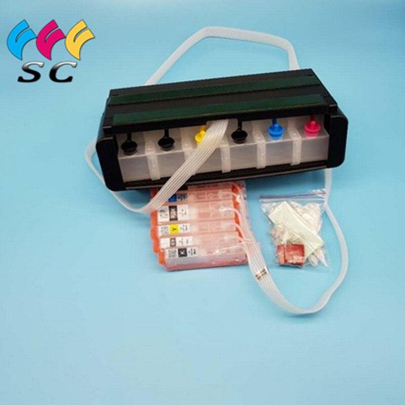 С постоянными чипами, объемная чернильная система CISS для Canon MG6360 с чипом автосброса, 6 цветов, PGI650 CLI651
