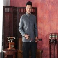 Nouveau Mode Gris Beige Mâle Coton Lin Réversible Pardessus Chinois Style solide Veste Chinois tunique costume S M L XL XXL XXXL