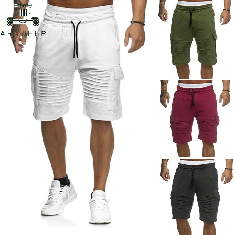2019 Mens Cargo Shorts Summer Casual Pocket Fitness Shorts Joggers Fashion Men Plus Size 3XL Trousers Sweatpants Short Homme