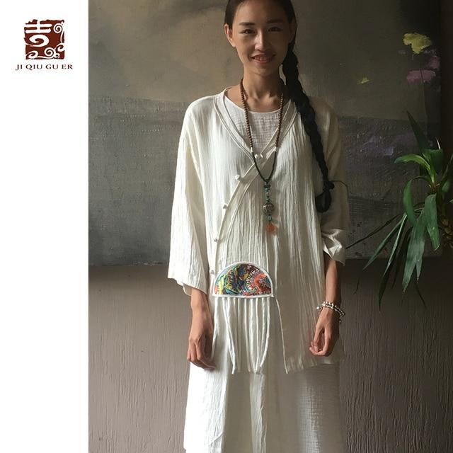 2b604b6a19fc € 81.02 |Sólo Una Pieza! Jiqiuguer Mujeres Blanco Vintage Rana Botones  Cardigan Bordado Irregular Borlas de Lino Retro Capa Ocasional GY006 en ...