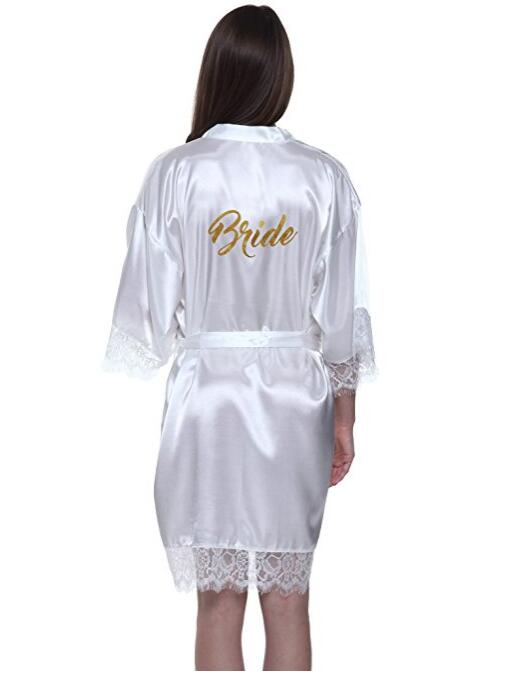 RB91 2017 Fashion Silk Bride Of Mother Robe With Gold Letter Sexy Women Short Satin Wedding Kimono Sleepwear Get Ready Robes