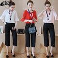 Elegant 2 Piece Set Women Suits 2016 OL Lotus Sleeve Tops +High Waist Pants Fashion Track Suit For Women Clothing Set
