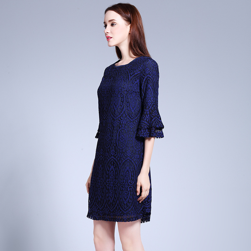 Summer Lace Dress 2017 Women L 5XL Plus Size Casual O neck Flare Sleeve  Loose A line Dresses Female Brand Vestidos Navy Blue-in Dresses from Women s  ... 42f62465dd1b