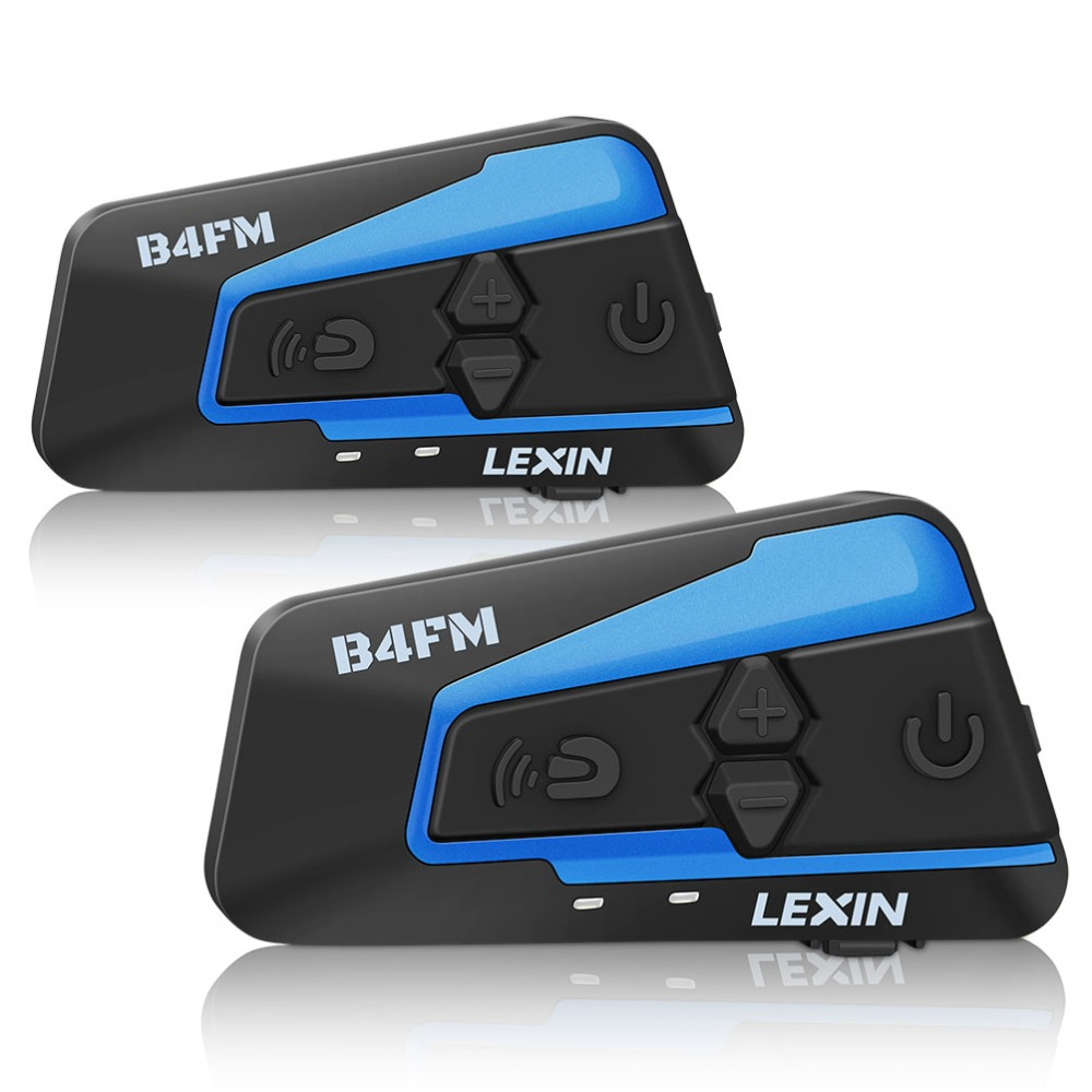 LEXIN LX-B4FM Intercom Motorcycle Bluetooth Helmet Headset for 1-4 riders with Noise Cancellation and Lound Sound, FM radio