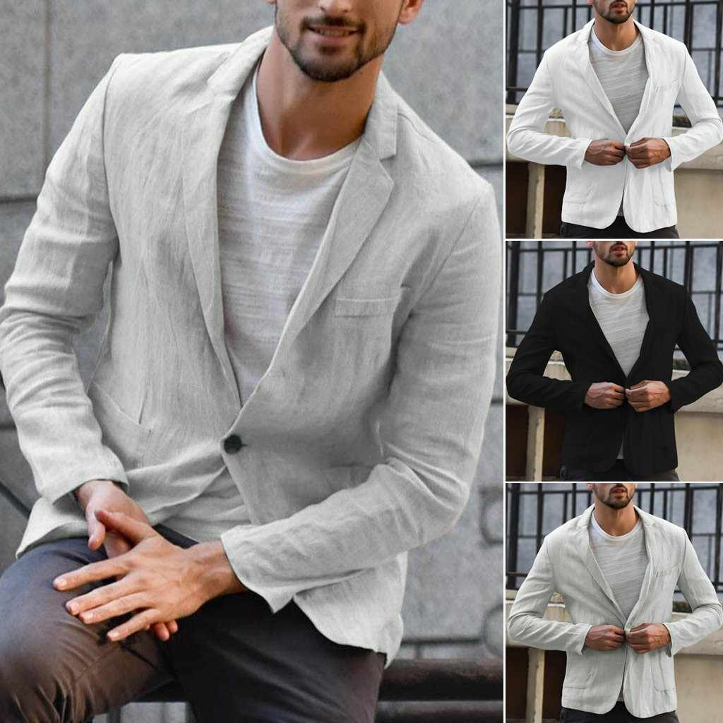 Men's Slim Fit Linen Blend Pocket Solid Long Sleeve Suits Blazer Jacket Outwear Loose elegant soft comfortable dropshiping 73