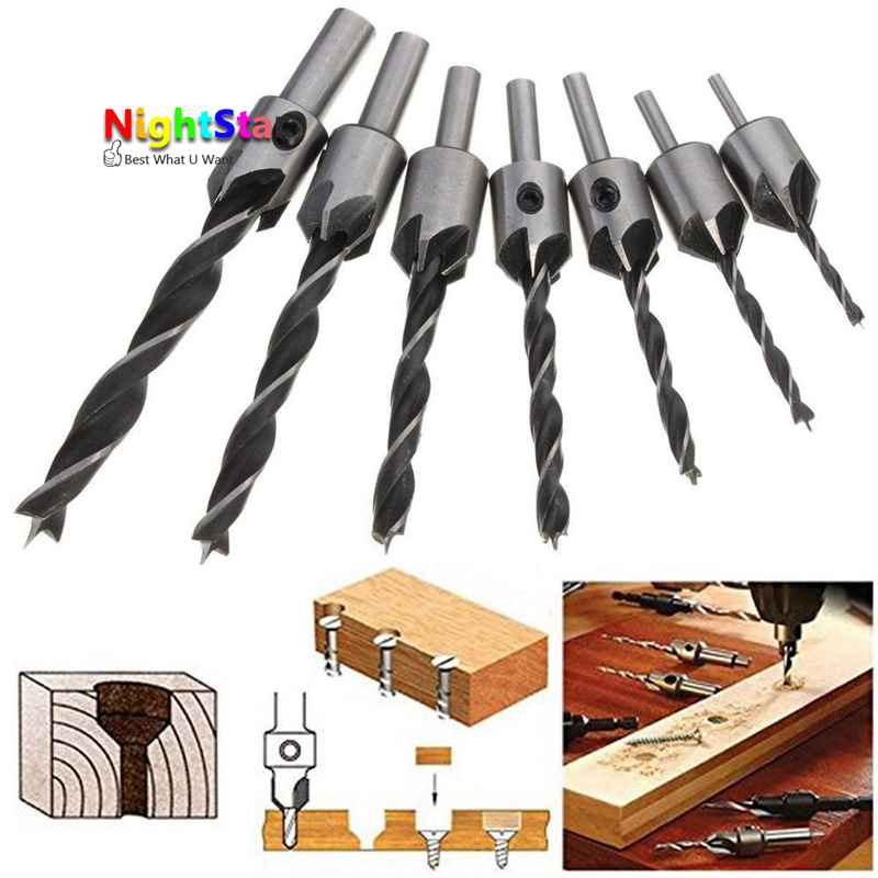 7Pcs/set 3 4 5 6 7 8 10mm Hss 5 Flute Countersink Drill Bit Set Reamer Woodworking Chamfer 20x20x38x104mm 3 flute hss