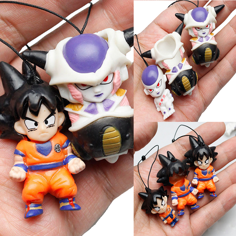 2pcs/set Anime Dragon Ball Super Saiyan Keychain Frieza Goku Mini Pendant PVC Action Figure Collection Toy Brinquedos