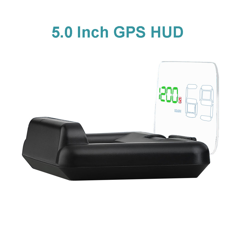5.0 Inch Car Speedometer GPS OBD2 Head Up Display Car Speed Projector on the Windshield Auto HUD Fuel Mileage Diagnostic Tool