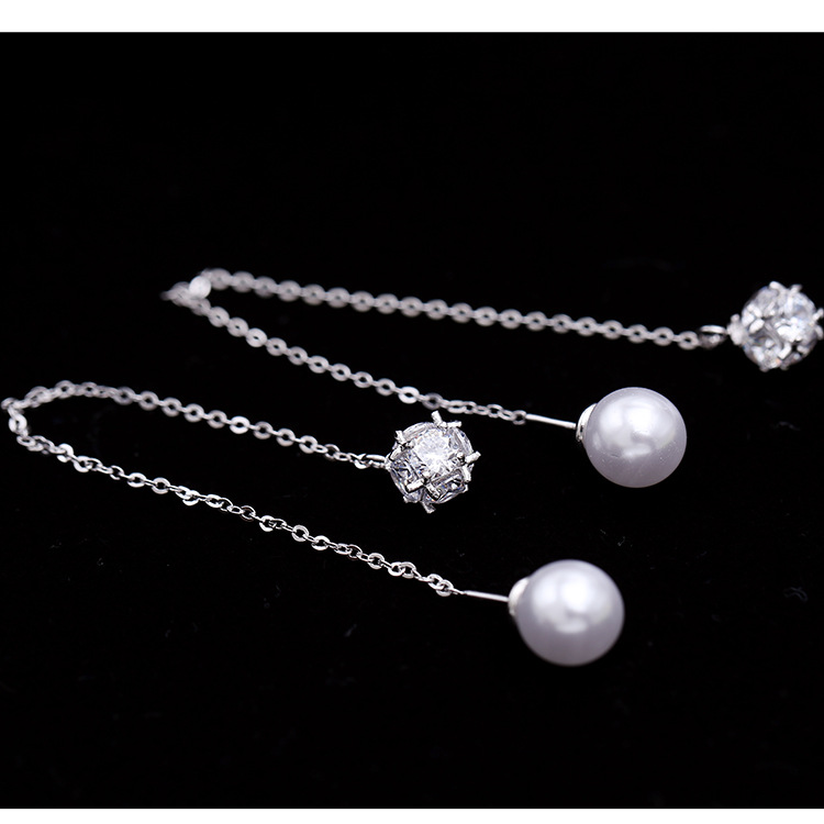 Long tasseled simple earrings pearl ear line female 925 silver earrings temperament day South Korea simple zircon earrings