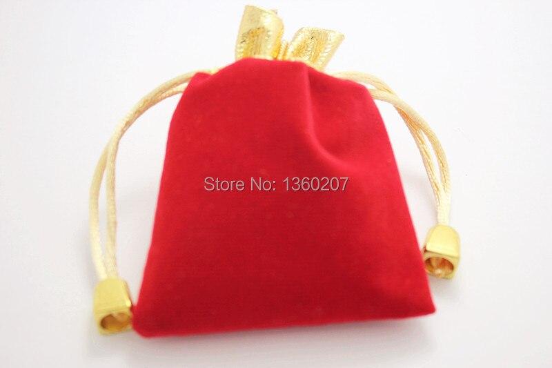 67ac1e0c1 25 unids/lote terciopelo rojo con cordón Bolsas de tela regalo de la  joyería Bolsas 12 cm x 9 cm
