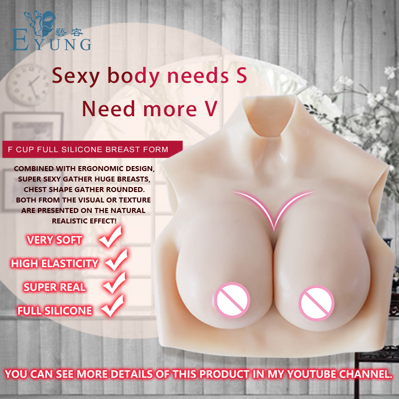 EYUNG Top quality E Cup Realistic Silicone Breast Form Artificial Boobs Enhancer Crossdresser chest for man shemale Trandsgender