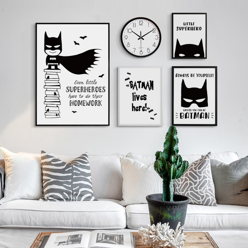Black and White Simple Anime Hero Batman A4 Canvas Art ...