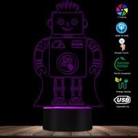 Modern 3D Optical Illusion Robot Acrylic LED Lighted Sign Kid Room Decor Sleep Night Lights Desk Lamp Glowing Robot Table Light|Novelty Lighting|Lights & Lighting -