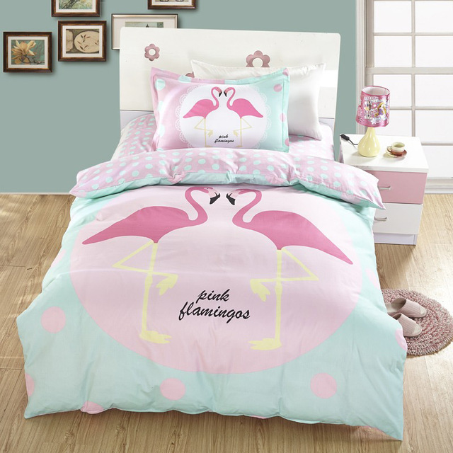 Fashion Pink Flamingo 100% Cotton Bedding Set Twin Size Duvet Cover Bed  Flat Sheet Pillow
