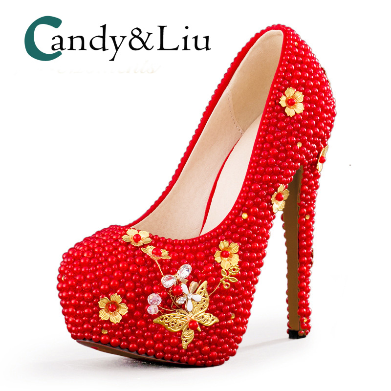 Red Crystal Wedding Shoes Super High Heel Gold Flower Pearl Beaded Slip on Women Pumps with Platform Party Banquet Evening