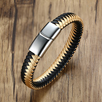 High Quality Men Personality Bracelet Black Gold PU Leather Man Bracelets Gift Stainless Steel Male Bangles