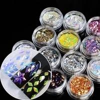 12 potten/Set Diamant Laser Pailletten Nail Ontwerp Sheets Holografische DIY Ultradunne DIY 3D Nail Art Interieurstickers D8151