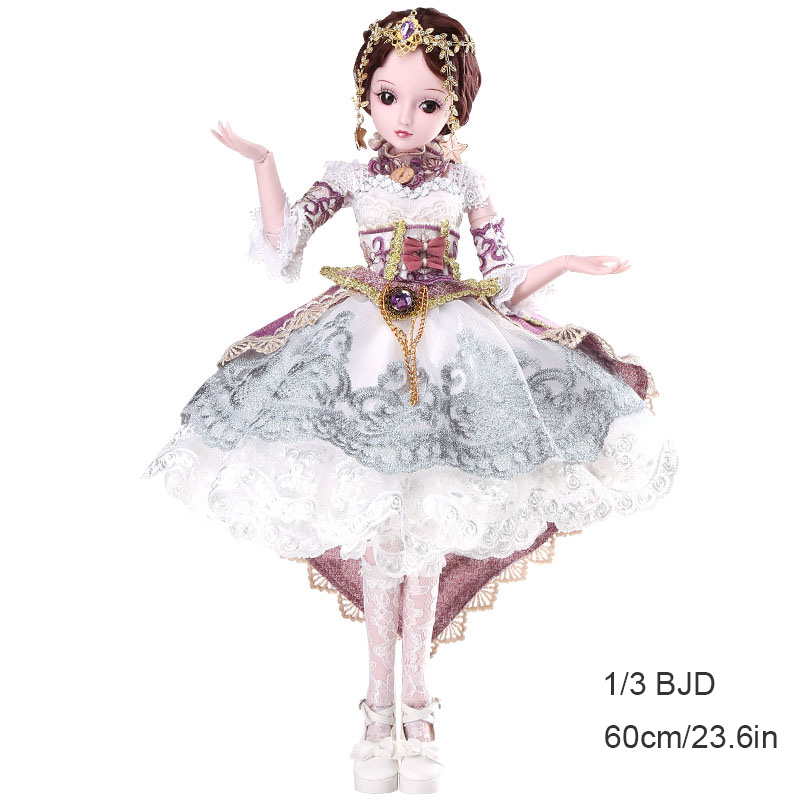 BJD 1/3 60CM 23IN 19 Joints New Style Movable Body Fashion High Quality Girls Classic Toys Best Gift with Wig and Outfit
