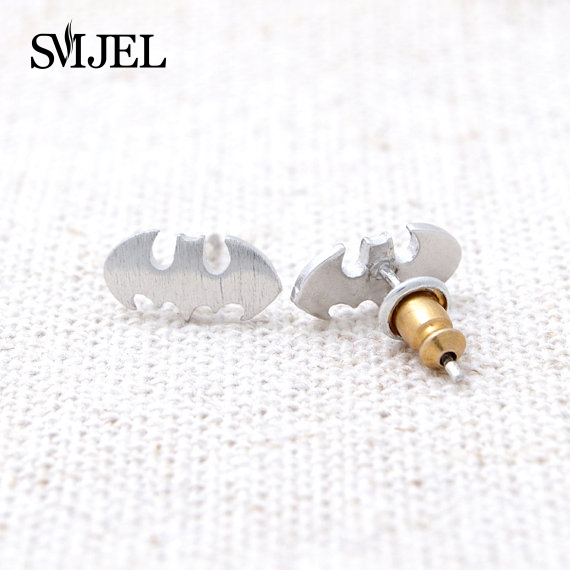 SMJEL 2017 Fashion Jewelry New Punk Brush Batman Stud Earrings For Womens Gift Vintage Earings Men Gifts