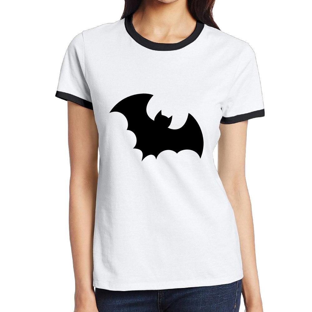Bat индивидуальные хлопка с круглым вырезом и принтом короткие черные Футболки девушки уличная Стиль тренировки Футболка