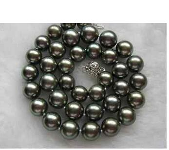 Beautiful HUGE  MM TAHITIAN BLACK GREEN NATURAL PEARL NECKLACE