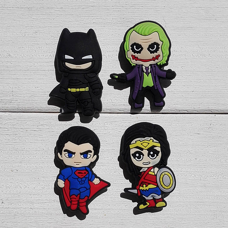 1pc Batman VS Super Man PVC Shoe Charms Shoe Accessories Shoe Decoration Shoe Buckles Accessories Fit Band Bracelets Croc JIBZ