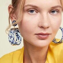 Boucle d'oreille ronde surdimensionnée en acétate acrylique pour femmes, bijoux de fête, nouvelle mode 2019