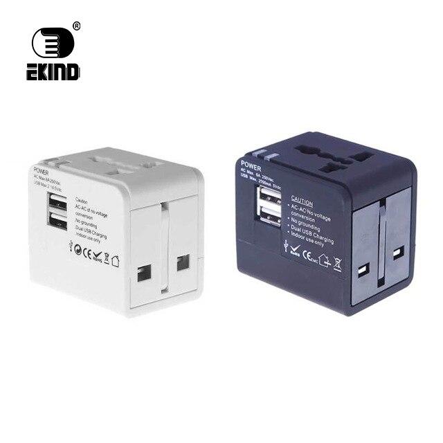 1pcs Universal International Power Plug Dual USB 5V 2.1A Power Charger Adapter Travel Converter Electrical Socket Plugs Adaptor