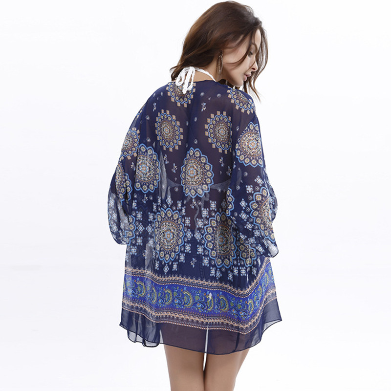 Bohemian Style Kimono Cardigan Women Plus Size Beach Cover Up Boho Print Loose Blouse Tops Female Coat in Cover Ups from Sports Entertainment