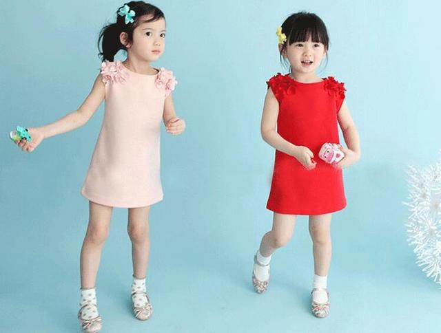 2 colors girl dress neat round neck girl flower vest princess dress solid color fashion girl clothes girl sleeveless dress A166