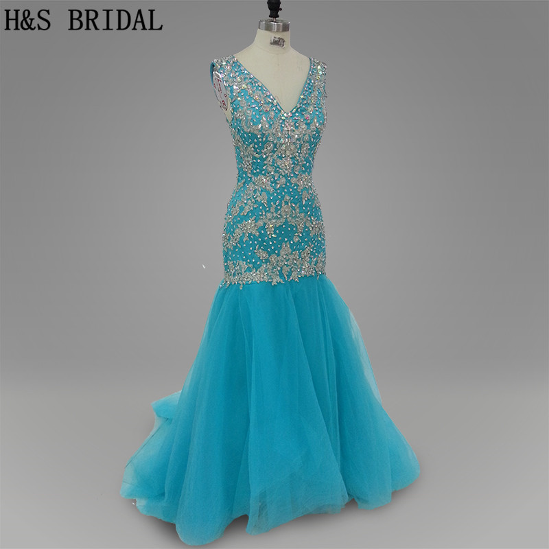 Real photo Sky Blue color Deep V neck Appliques beading Evening   dress   Mermaid tulle   prom     dresses