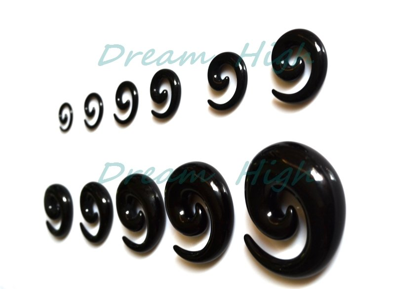 Wholesale Acrylic Ear Spiral Expanders Black Ear Tapers 100pcs lot Mixed Sizes 1 6 20mm Body