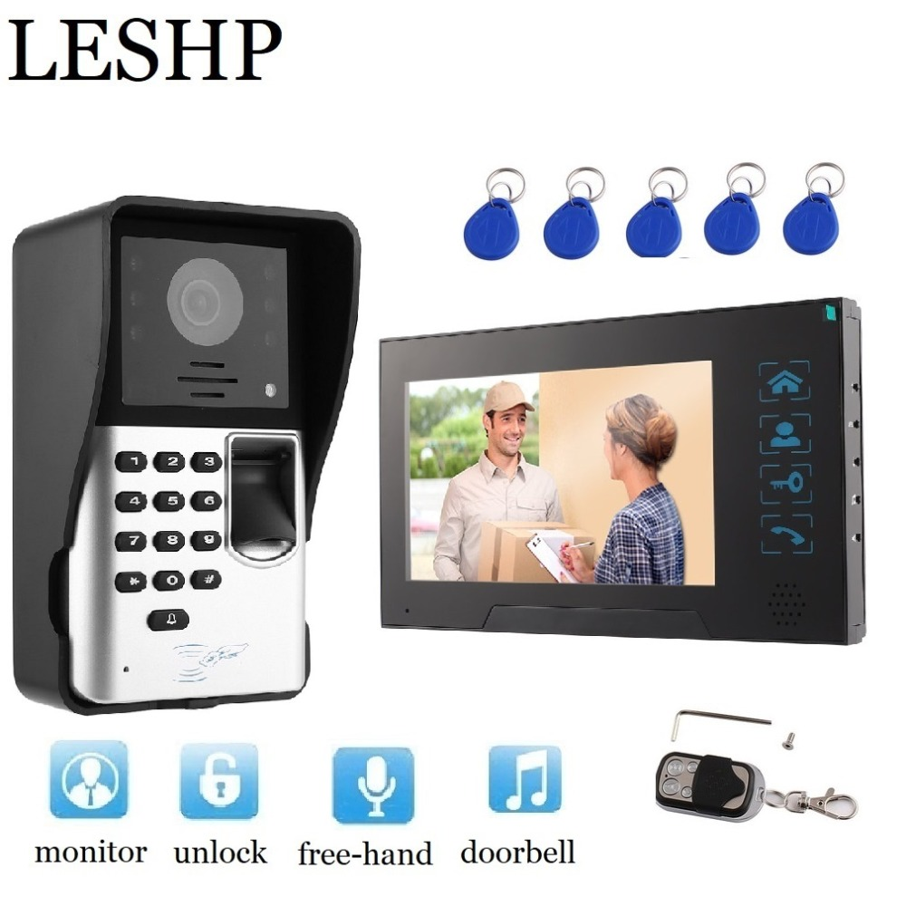 Video Intercom 7 inch TFT LCD Monitor Video Door Phone MIC Fingerprint/Code Unlock Indoor Monitor Outdoor Camera With RFID Cards pop relax electric vibrator jade massager light heating therapy natural jade stone body relax handheld massage device massager