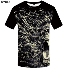 KYKU Brand Lion T shirt Splash Ink Funny Tshirt Water Print Shirts 3d T-shirt Plus Size Clothes Men Short Sleeve Hip hop men ink painting print tshirt