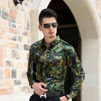 High Quality New Velvet Style Mens Floral Dress Shirt Long Sleeve Male Fashion Printing Gold Velvet