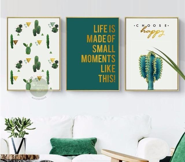 nordic kiezen gelukkig groene plant print verf canvas cosmetica winkel muur decoraties interieur geen frame zj061
