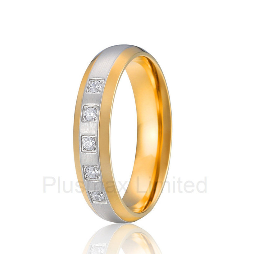 2016 Anel superb value and service pure titanium jewelry factory gold color promise wedding rings for women anel feminino cheap pure titanium jewelry wholesale a lot of new design cheap pure titanium wedding band rings