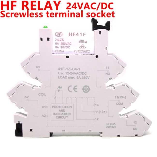 5 adet 41F-1Z-C4-1 HF41F 5V 12V 24V 6A 1CO ince röle vidasız terminal çorap ile LED ve koruma devresi 24VDC/AC gofret röle