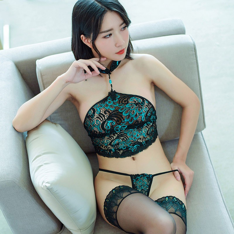 Women's Sexy Lingerie Set Stockings Exotic Apparel Peacock G