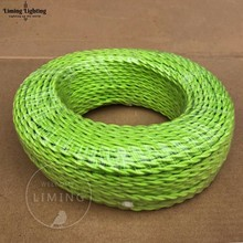 100M Meter 2*0.75mm Vintage Twisted Electrical Wire Green Textile Cable Edison Lamp Cord Braided Retro Pendant Light