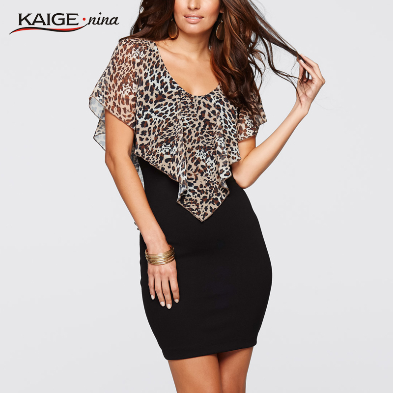 Summer Fashion Mini Maxi Sexy Dress Party Dresses Hot Sale High-quality Leopard Short Sleeves V-Collar Off The Shoulder1715