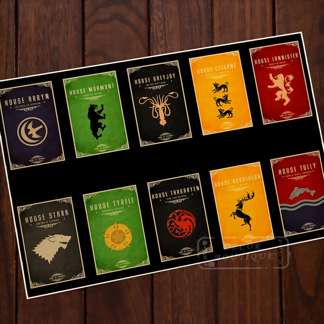 Lord House Card Collection Game of Thrones Vintage Classic Retro ...