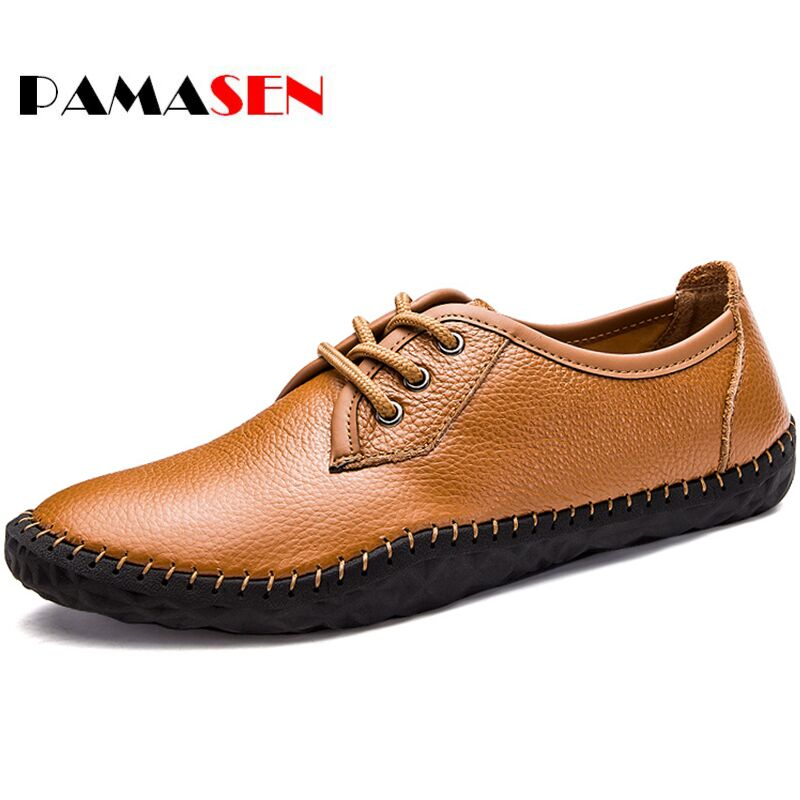 PAMASEN New Autumn Spring Men's Casual Shoes Moccasins Genuine Leather Krasovki Men Loafers Luxury Brand Fashion Male Boat Shoes spring autumn men loafers genuine leather casual men shoes fashion driving shoes moccasins flats gommino male footwear rmc 320