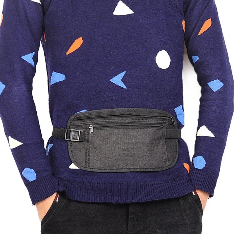 Men Women Travel Polyester Pouch Zippered Waist Compact Security Money Waist Belt Bag 2018 New Waist Bag Hot Sale Mochila S502